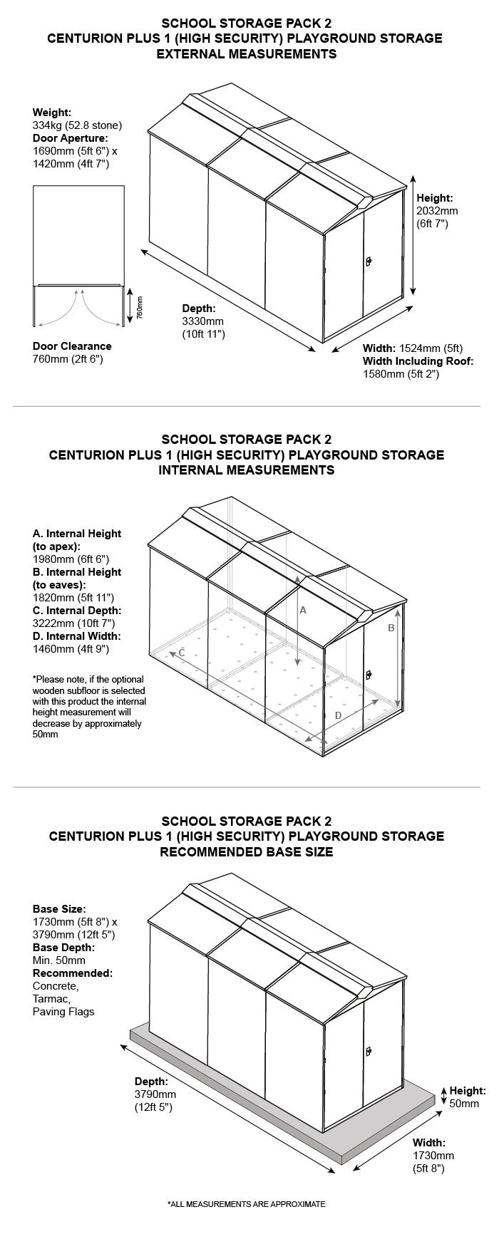 School Storage Pack 2 Dimensions