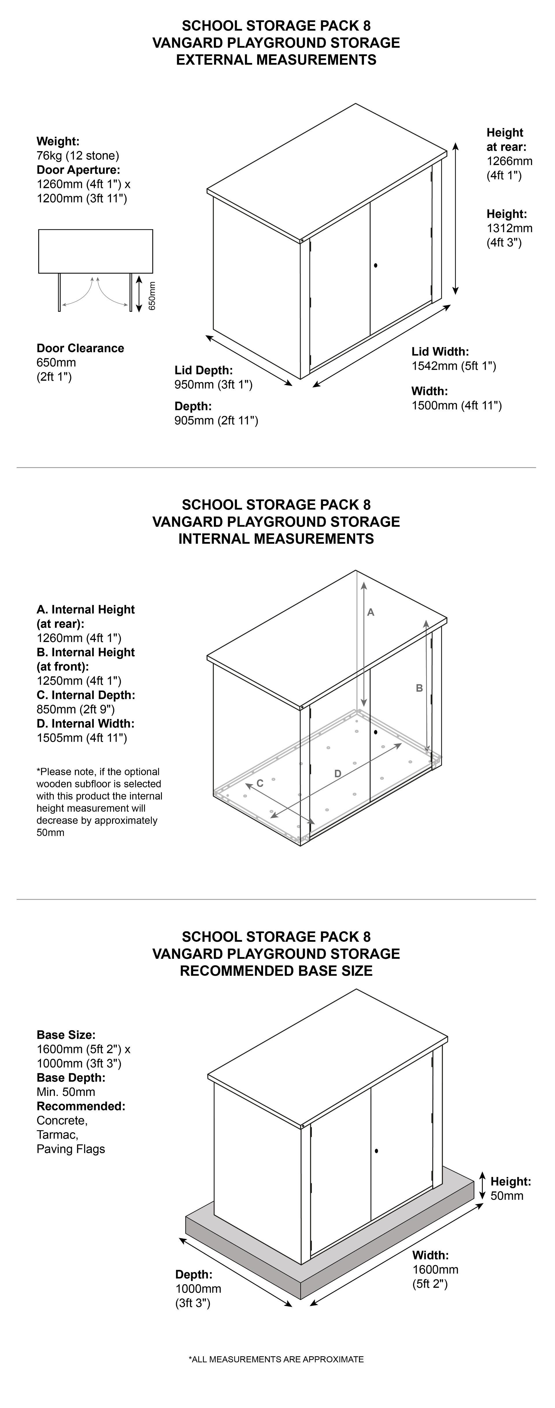 School Storage Pack: 8 Dimensions