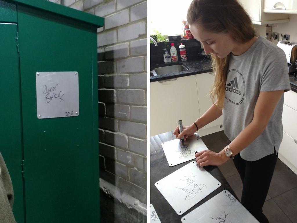 Elinor Barker signing plaque