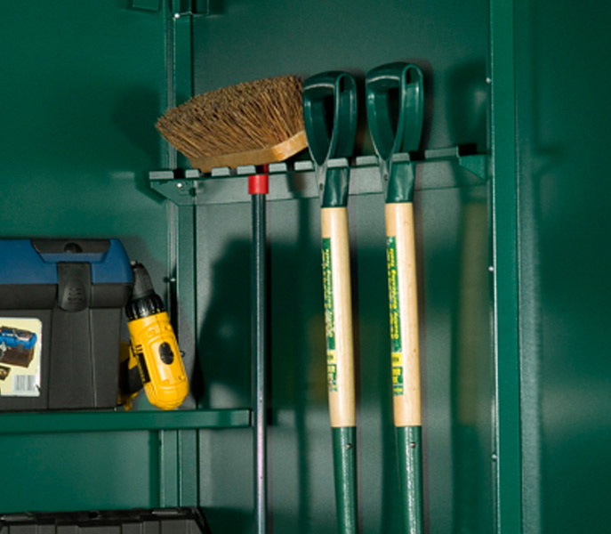 Shed tool rail