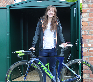 Elinor Barker with her new Bike Storage Shed