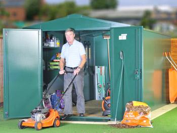 Secure lawnmower storage