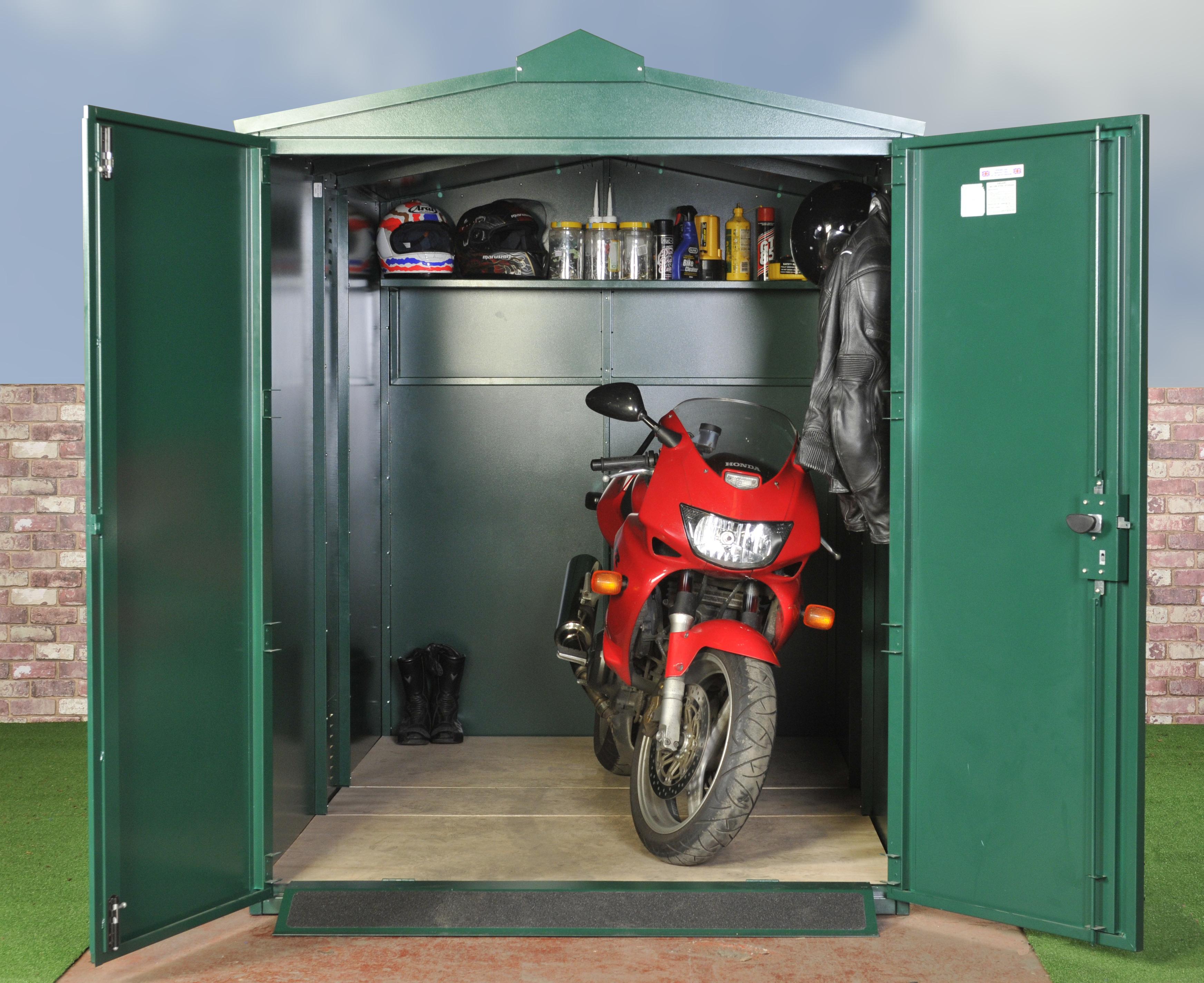 Metal motorcycle storage shed
