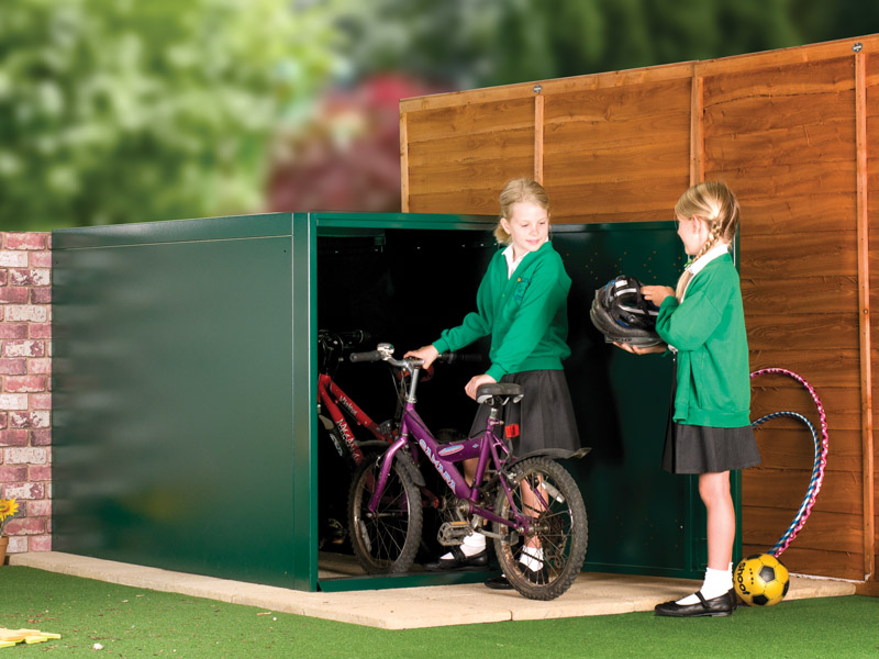 Metal bike lockers for schools