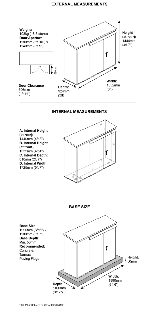 School Storage Pack 5 Dimensions