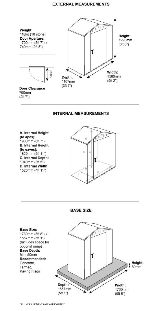 Asgard Flexistore shed dimensions