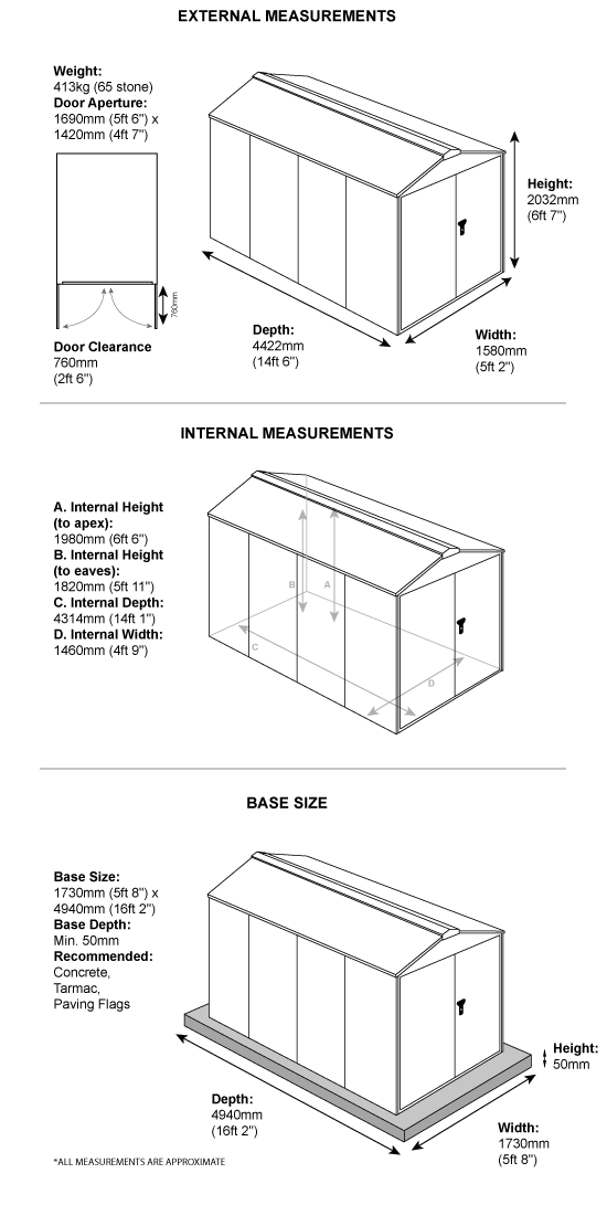 5 x 14 metal garden shed dimensions