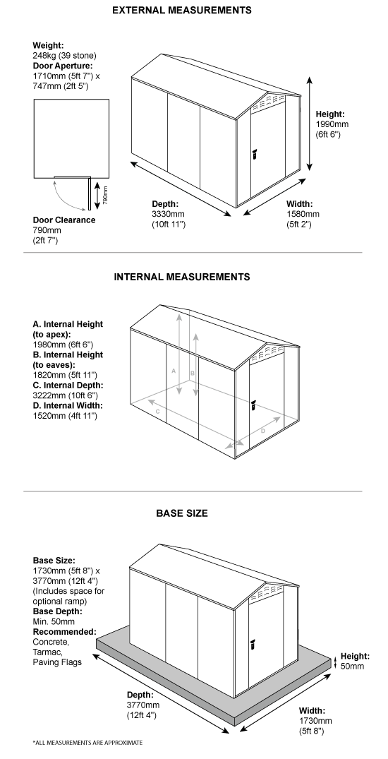 Metal garden shed dimensions