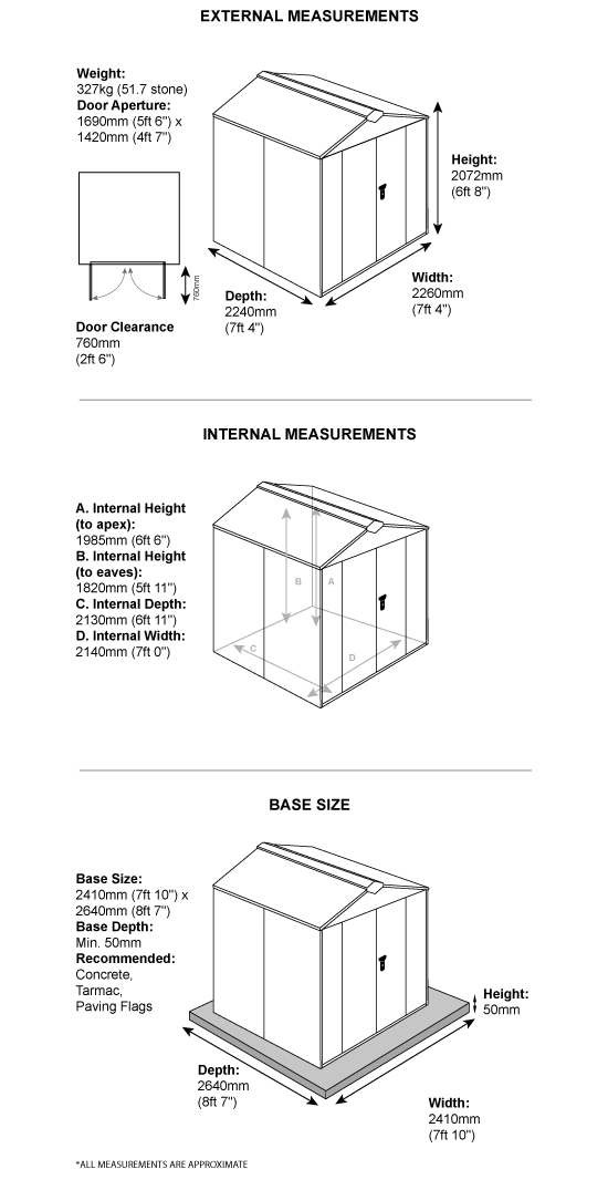 School Storage Pack 3 Dimensions