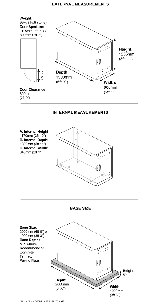 Single Bike Locker Dimensions