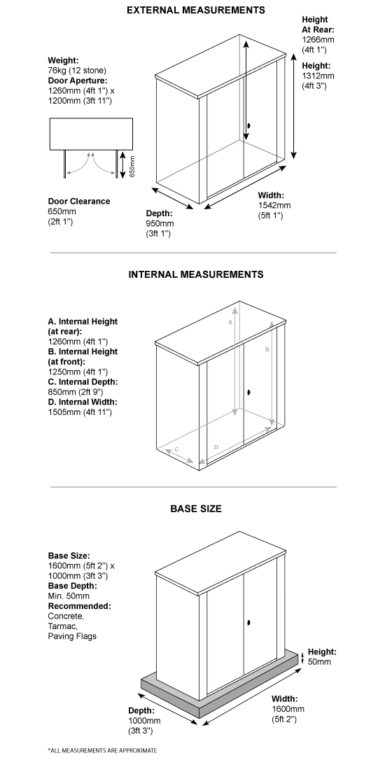 5 x 3 Metal Garden Shed Dimensions
