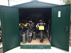 Asgards spacious Gladiator Motorbike Storage allows you to safely secure your motorbikes