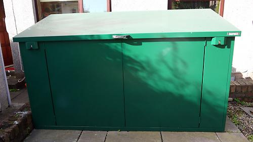 Access Plus metal bike shed with lift-up lid