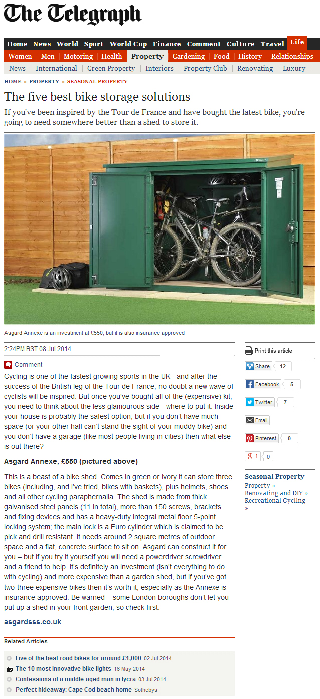 The Telegraph names a Asgard bike shed as the best bike storage solution
