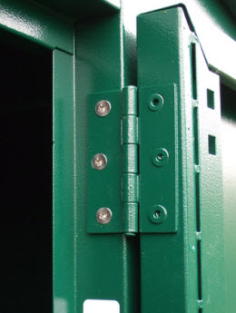 Two heavy gauge steel panels are screwed together from the inside